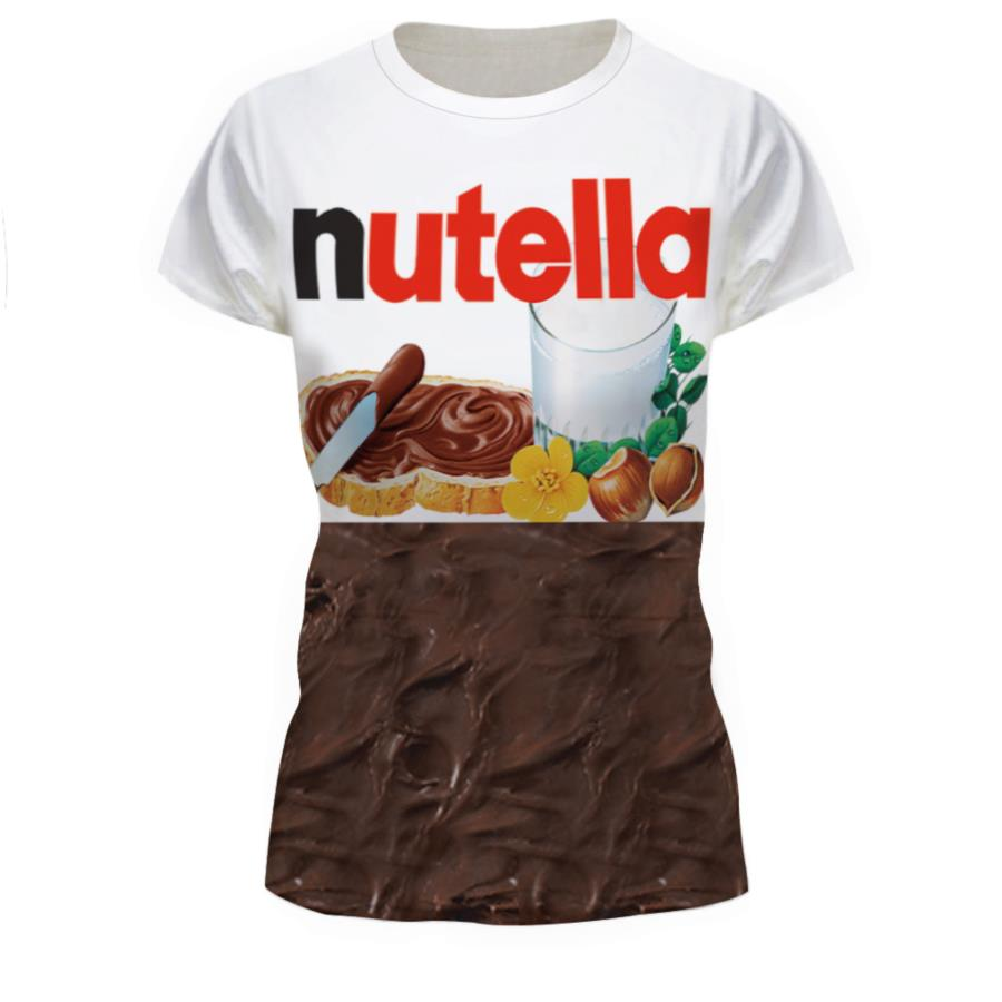 8506a466b9da S--XXL New Design Summer Fashion Women men 3D T Shirt Nutella Spoof Fun  Life Like Food Chocolate Sauce Funny Tees Outfits Tops