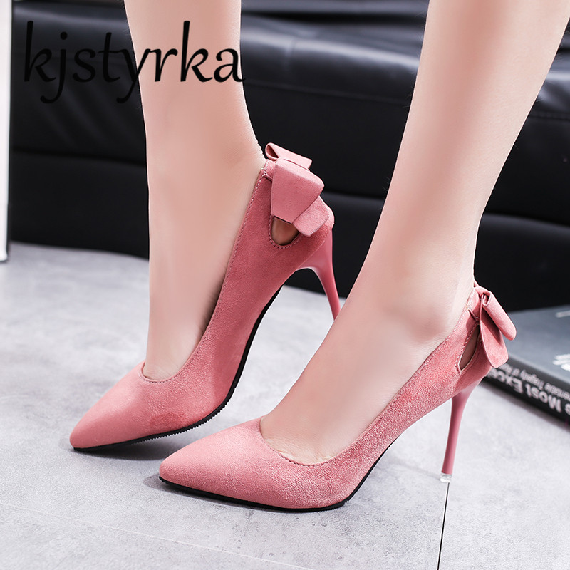 Kjstyrka 2018 Women Pumps Brand Women Shoes Thin High Heels 9.5cm Bow Sexy Pointed Toe Shallow Party Wedding Shoes Pink