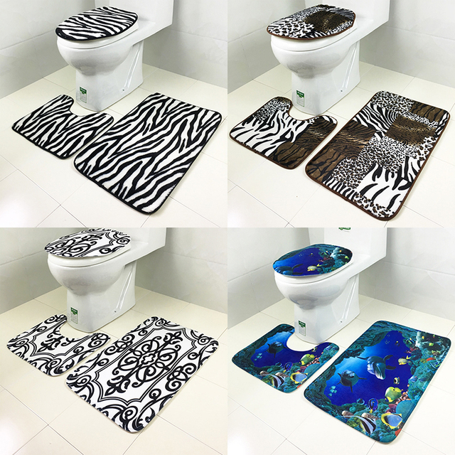 3pcsset Bathroom Mats Floor Basin Many Designs Toilet Pedestal Rugs