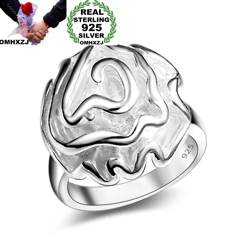 OMHXZJ Wholesale Personality Fashion OL Woman Girl Party Wedding Gift Silver Rose 925 Sterling Silver Ring RN275
