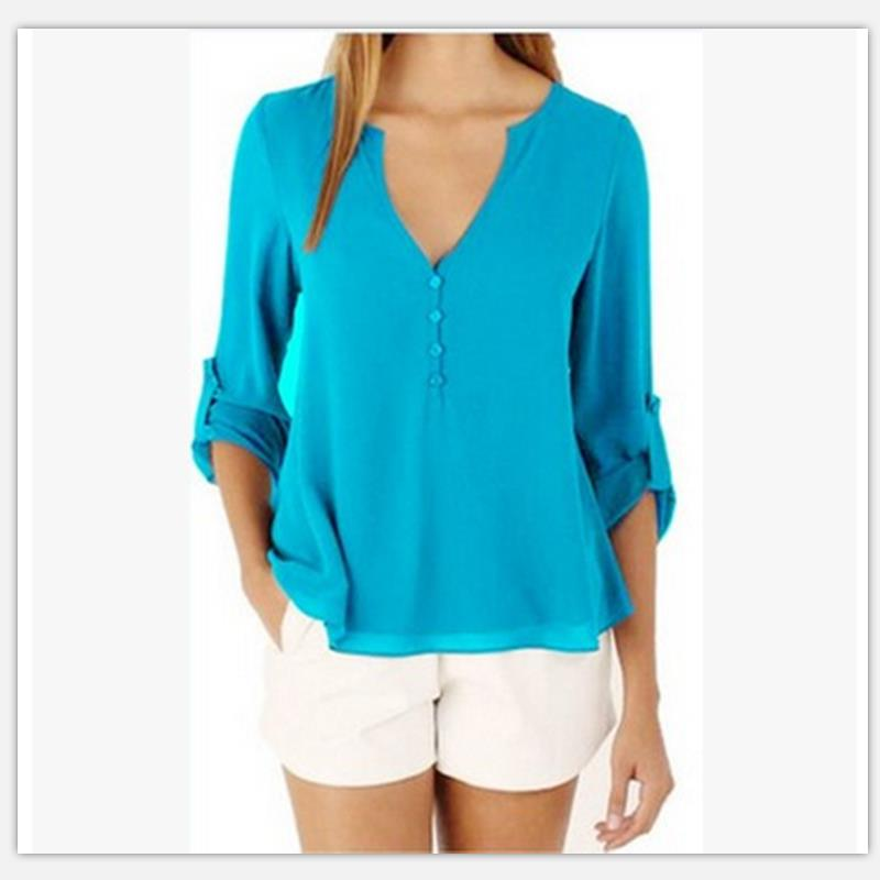 Women shirt Summer Plus Size Tee Basic Shirts Women Solid V Neck Seven points Sleeve Casual Big Size Female 4XL 5XL Tops Femme 2