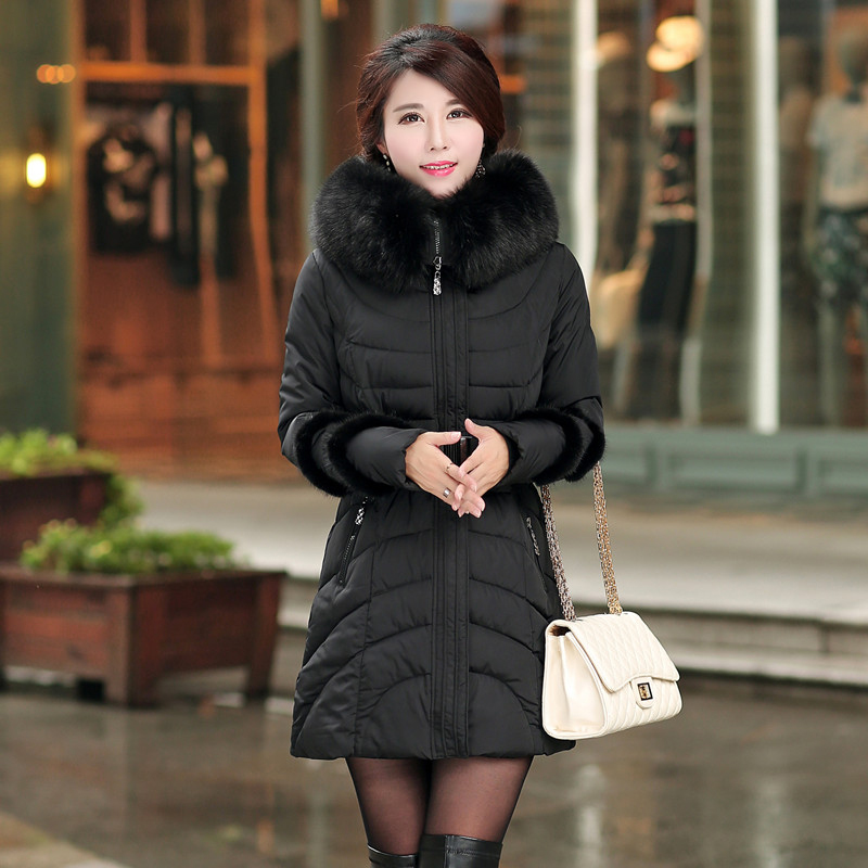 Nice New Winter Coats And Jackets Woman Winter Down Jacket Hooded Fur Collar Slim Long Cotton Padded Parka Plus Size 4Xl CP1151 2017 women winter coat fur collar hooded long sleeve jackets slim thick winter jacket woman s down cotton parka plus size qh0242