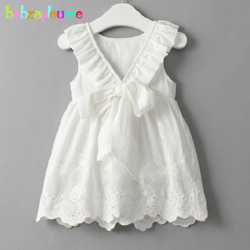 0-7Years/Summer Style Children Clothes Sleeveless Kids Clothing Casual White Baby Girl Backless Dresses Cute Infant Dress BC1005
