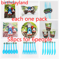 58 adet thomas tema plaka peçete kupası çatal bıçak maske hediye çantası Çocuklar Doğum Günü Partisi Dekorasyon Seti 6 insanlar için kullanım