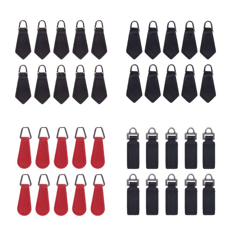 New 10 Pcs PU Leather Zipper Tags Fixer Pull Tab Replacement DIY Wallet Purse Bag Accessories