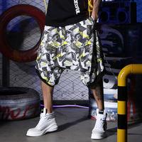 Print Harem Shorts Men High Street Summer Hip Hop Sweatpants Casual Shorts Men Jogger Rock Revival Short Hombre Streetwear S6T65