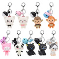 Cute Animal Bell Pendant Keychain Key Ring Bag Accessories Cartoon Cat Monkey Panda Fans Gift