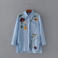 2017 Fashion Long Sleeve Embroidery Shirts Women Blouses Casual Elegant Blue Striped Floral Bird Pattern Vintage
