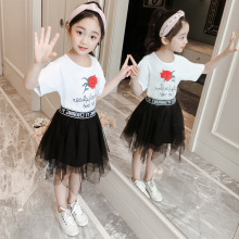 Girl flower gauze skirt two-piece set of cotton casual Korean version short sleeve T-shirt childrens wear