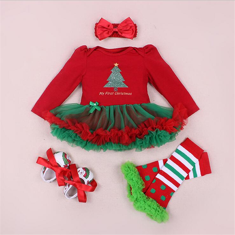 Christmas Baby Rompers Baby Girl's Christmas Tree Dress Newborn Baby 4pcs  Clothing Sets Infant Christmas Outfits-in Clothing Sets from Mother & Kids  on ... - Christmas Baby Rompers Baby Girl's Christmas Tree Dress Newborn Baby