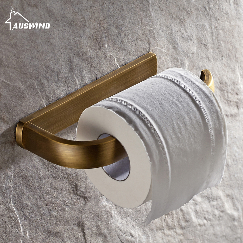 Antique Solid Brass Toilet Paper Holder Square Base Tissue Box Wall Mounted Toilet Roll Holder Brushed Bathroom Accessories Set solid brass antique brass bathroom toilet paper holder with brush bathroom accessories wall mounted