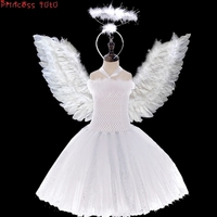 [Princess Tutu]Girl White Angle Costume Dress Halloween Party Cosplay Costume Children Performance Clothing With Wig Headband