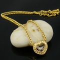 Fashion Three Moveable Rhinestone In Heart Yellow Gold Plated Stainless Steel Pendant Necklace