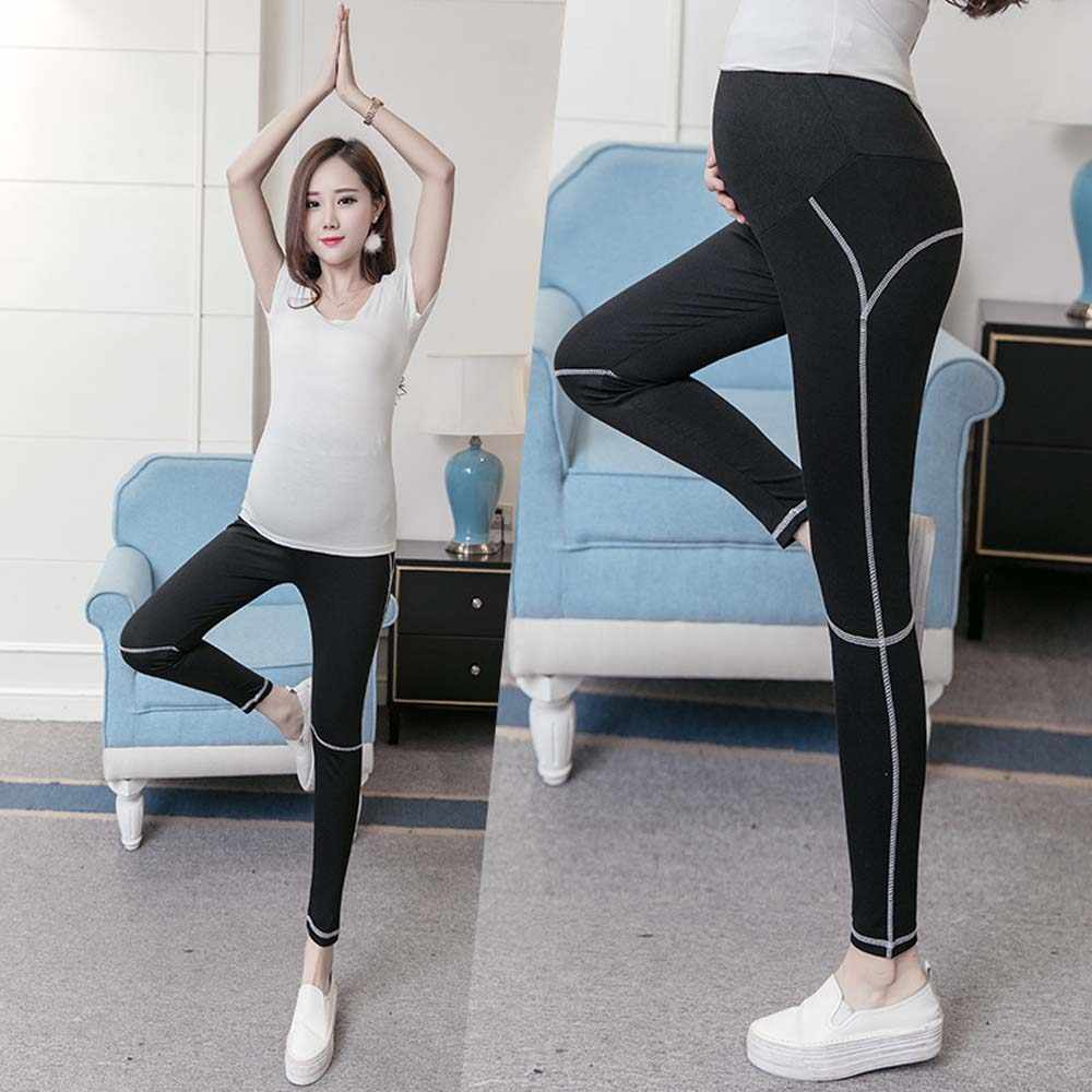 16f89c99fa124b Lady Maternity Solid Black Sport Yoga Leggings Pants Clothes for Pregnant  Women Trousers Modal Elastic Clothing