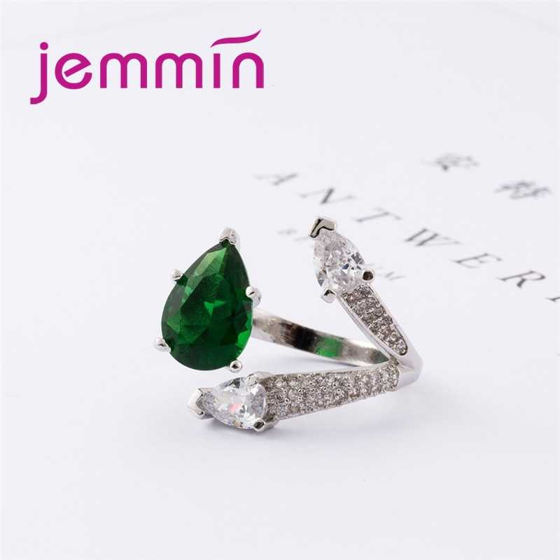 Generous Three Heart Cut Big Dark Green & White CZ 925 Sterling Silver Ring Gorgeous Perfect Elaborate Lovers' Jewelry
