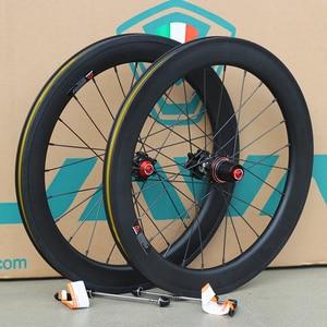 "Image 1 - SILVEROCK ألياف الكربون 20 ""451 406 العجلات 24H حافة الفرجار مكبح قرصي لطي الدراجة Minivelo عجلات الدراجة"