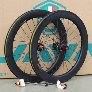 """Image 1 - Silverock fibra de carbono 20 """"451 406 rodados 24h aro pinça freio a disco para bicicleta dobrável minivelo rodas"""
