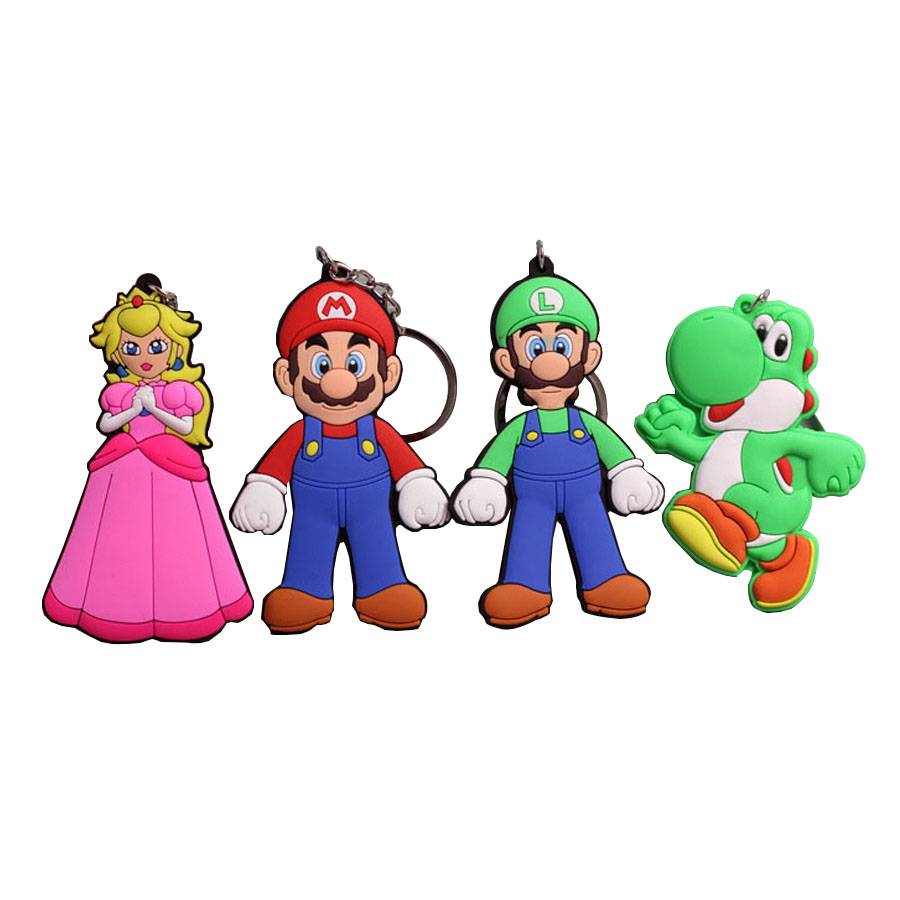 US $1 25 |2018 New Super Mario Keychain Pendant Cute Cartoon Mario Bros  Soft PVC Key Chain 4 styles Action Figures Gift key Ring-in Action & Toy