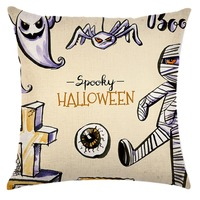 Cotton Linen 4 Halloween Cartoon Horror Series Cushion Bed Car Fashion Creative Houseware Seat Cushion Soft Pillow Cotton Linen