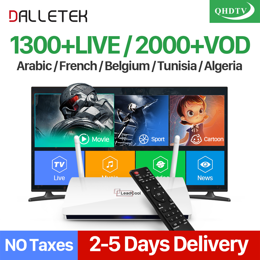 Dalletektv QHDTV 1 Year IPTV Subscription Leadcool Europe Arabic IPTV Box French Netherlands Smart Android 6.0 IP TV Top Box 1150 channels free iptv ip s2 plus smart tv box dvb s2 satellite receiver hd full 1080p 1 year europe arabic italian smart iptv