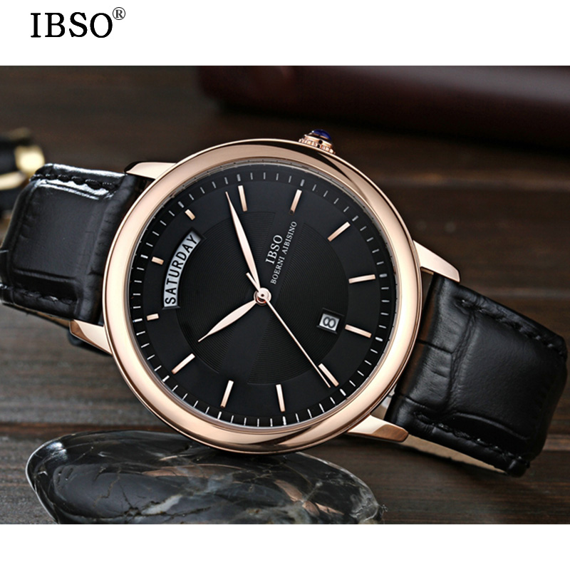 59a38b463d17 IBSO Week Display Multifunction Mens Watch Vogue Complete Calendar The Men  Watch Business Genuine Leather Strap Relojes Hombre-in Quartz Watches from  ...