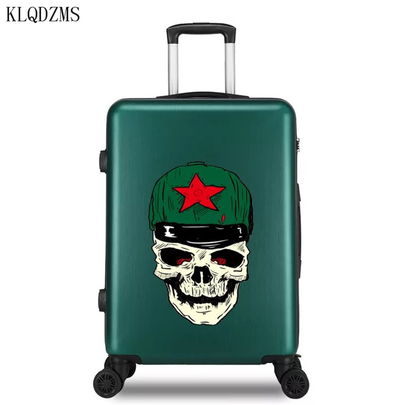 KLQDZMS 20/22/24/26Inch Fashion Skull Pattern Design Rolling Suitcase  PC Carry-Ons Travel Luggage Spinner