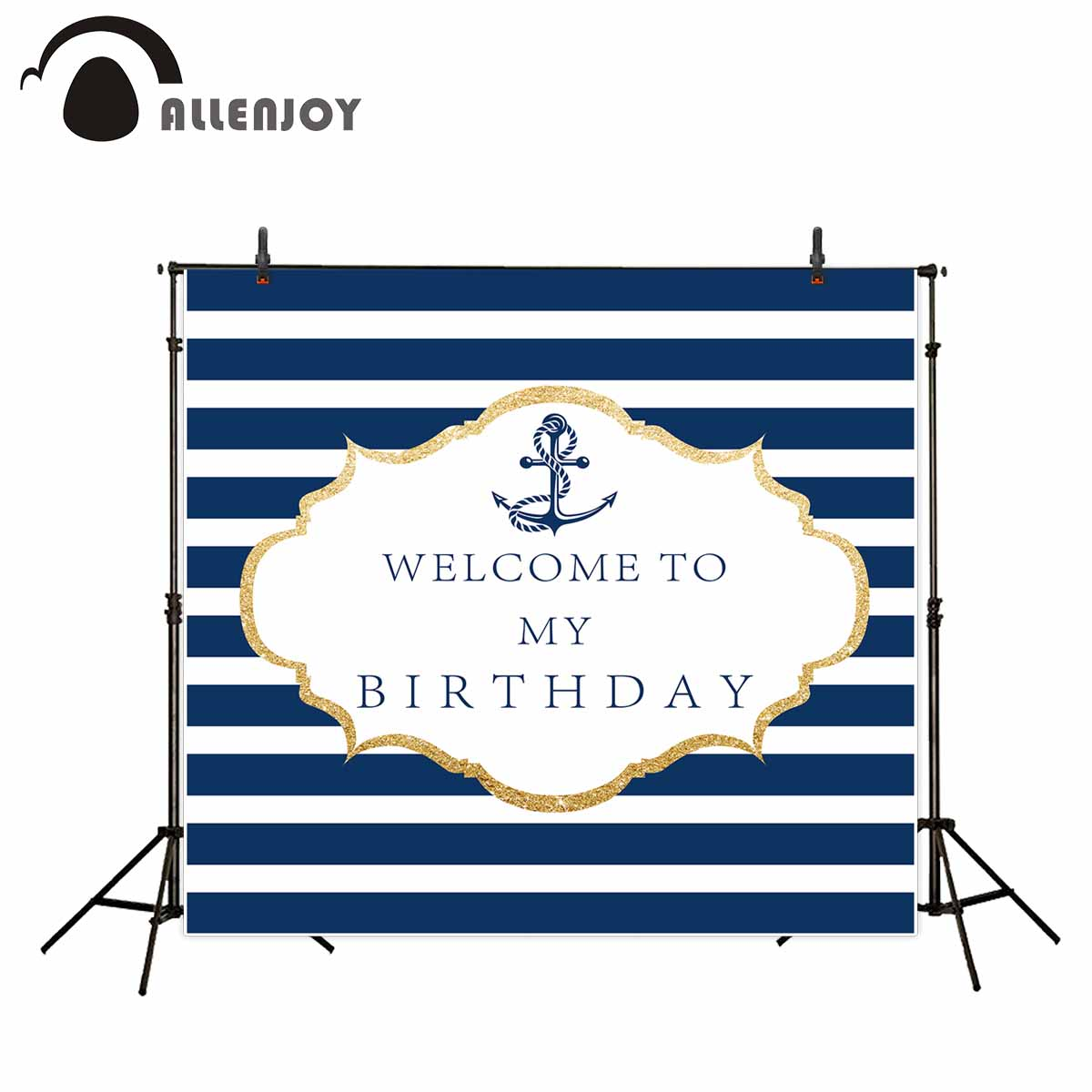 Allenjoy background for photo naval style boy birthday party blue and white stripes new photo studio backdrop fantasy props allenjoy background for photo studio full moon spider black cat pumpkin halloween backdrop newborn original design fantasy props