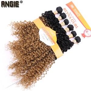 Image 3 - ANGIE Synthetische Kinky Krullend Haar Bundels Two Tone Ombre Kleur Haar Weave 16 18 20 inches Gemengde 1 pak Oplossing
