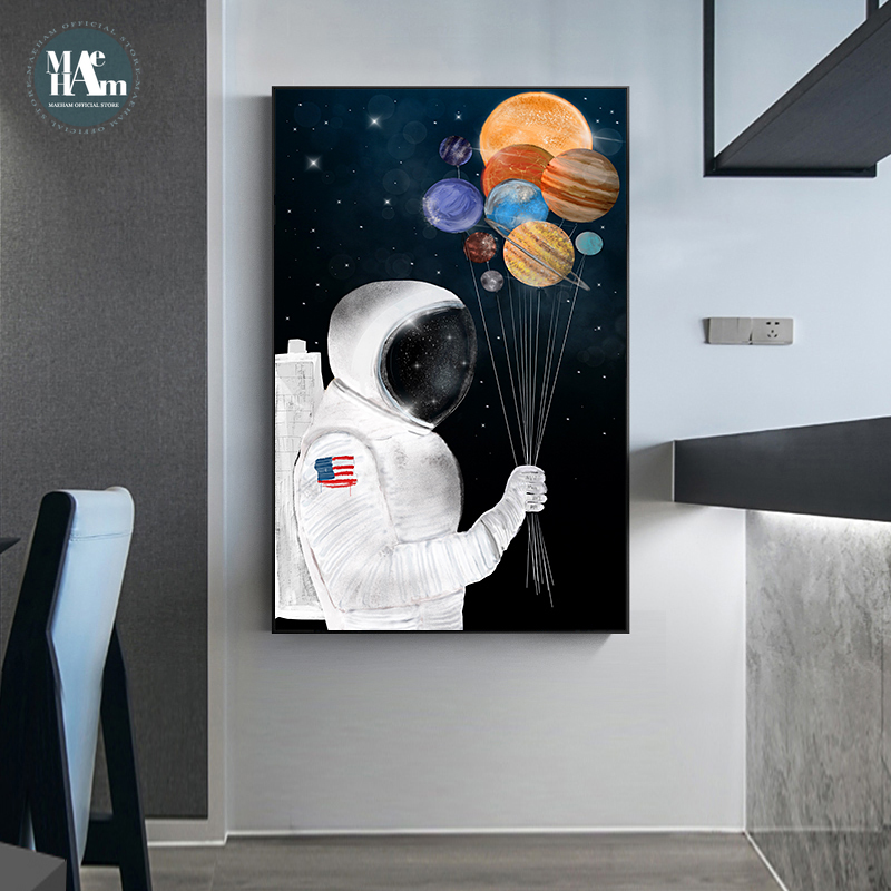 Astronaut Planet Space Balloon Wall Art Canvas Prints Posters  Fashion Cartoon Animal Fox Wall Pictures For Nursery Kids Room