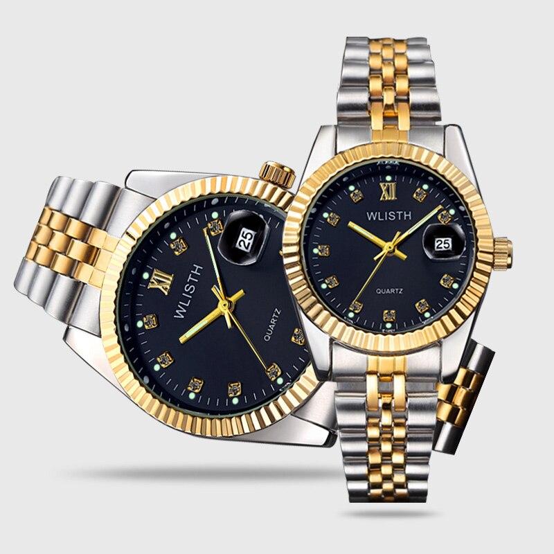 Relógio dos Homens para Mulheres Marca de Luxo em Ouro Relógios dos Homens Wlisth Casal Assistir Rosa Relógio Masculino Reloj Hombre Mujer Top