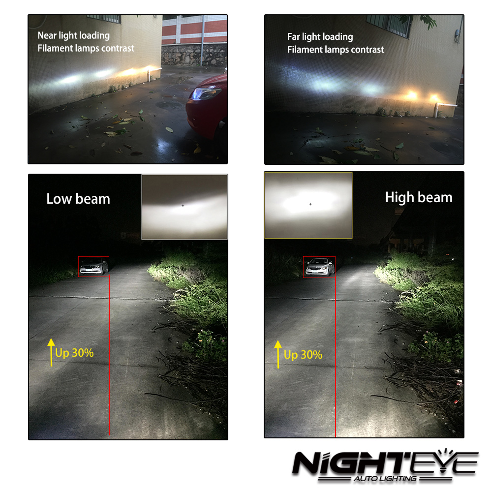 Nighteye LED H4/HB2/9003 H13 9005 9006 9007 H7 H11 60 W 10000LM Voiture LED Phares H1 H3 Phares Antibrouillard 3000 K 6500 K 8000 K Plug-n-play - 5