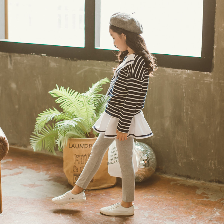 Girls Clothing Set 4 5 6 7 8 9 10 11 12 Years Spring School Clothes Striped Shirt + Skirt Pant 2pcs Suit Roupas Infantis Menina kids girls spring fall 2 pcs sets 2017 new baby girls clothing knitted sweater butterfly skirt suit 4 5 6 7 8 9 10 11 12 13