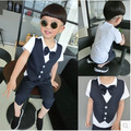 2016 Summer Children Suit Baby Boys Suits Kids Blazer For Wedding Boys Clothes Set Short Sleeve T Shirt + Boys Pants 2pcs 3-8Y