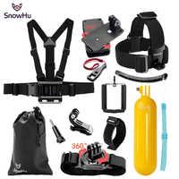 SnowHu für Xiaomi für Yi 4K Zubehör Kit Brustgurt Einbeinstativ Für Gopro Hero 8 7 6 5 4 für Eken H9R für SJCAM für SJ4000 GS67