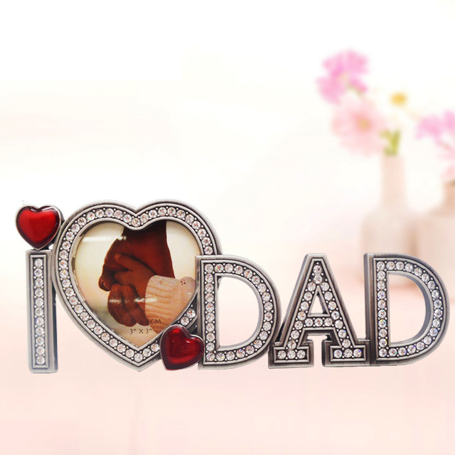 New Arrival Lovely Metal Photo Frame Birthday Gift For DAD Cute Crystal DIY Picture Creative