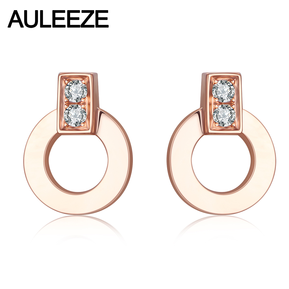 AULEEZE Genuine Natural Diamond Real 18K Rose Gold Stud Earrings For Women Exquisite Fine Jewelry starry pattern gold plated alloy rhinestone stud earrings for women pink pair