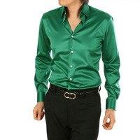 Nieuwe 2017 Modieuze mannen kwaliteit slim fit hoogwaardige zijde shirts/Mannen van hoogwaardige pure kleur business shirt