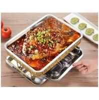 Aço inoxidável Grade do forno peixe espessamento comercial Retângulo forno de Carvão Vegetal do carvão vegetal prato de Peixe álcool frutos do mar