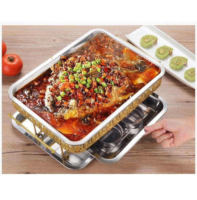 In acciaio inox forno Grill pesce ispessimento carbone commerciale piatto di Pesce alcol Rettangolo forno a Legna frutti di mare