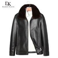 2017 New Leather Down Coats Men Dusen Klein Genuine Leather High Quality Fur Collar Sheepskin Winter