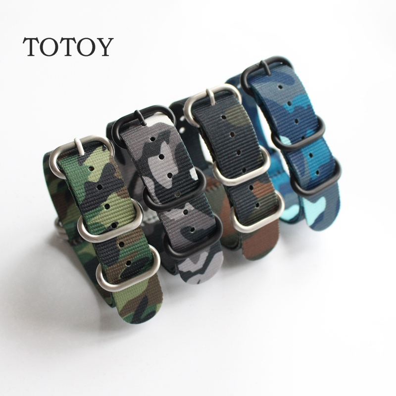TOTOY Camouflage Nylon Watchbands NATO 18MM 20MM 22MM 24MM, Men Models Watch Strap, Fast Delivery