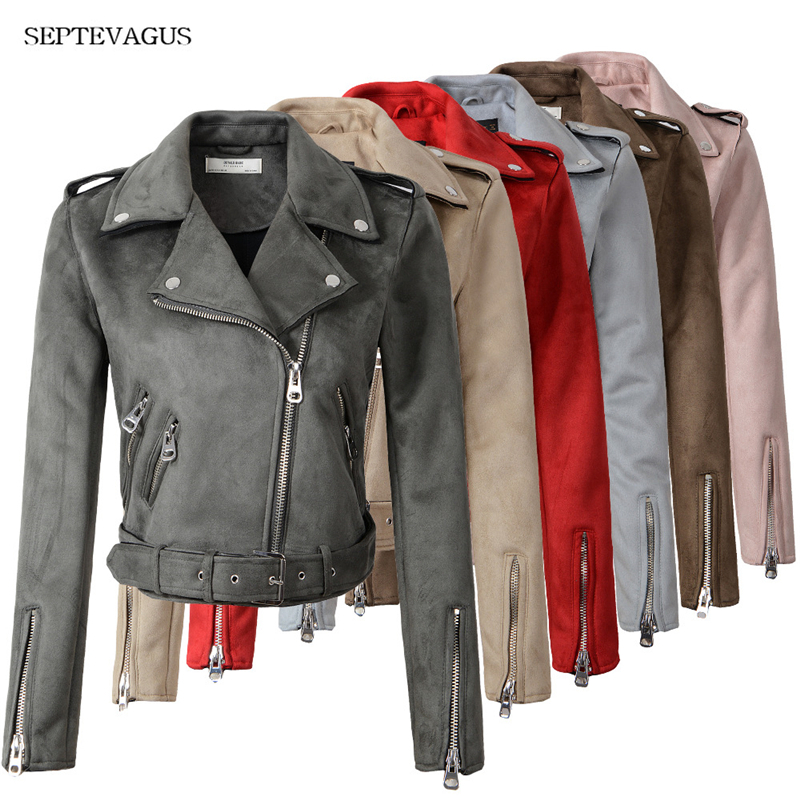 2018 New Women Fashion Autumn Winter   Suede   Faux   Leather   Jackets Lady Fashion Matte Motorcycle Coat Biker Gray Pink Beige Outwear