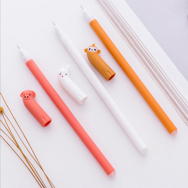 3pcs/lot Creative small animal modeling gel pen kawaii full pin water based  pen primary school students favorite stationery-in Gel Pens from Office &