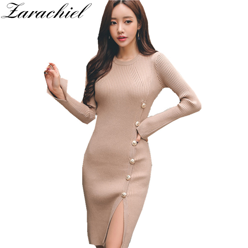 Women Sexy Winter Button Down Open Split Knitted Skinny Bodycon Midi Dress  Long Sleeve Warm Slim Sweater Dress Sheath Vestidos 979e90a5e