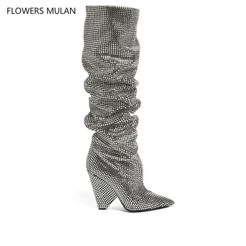 Новые женские сапоги до колена с украшением в виде кристаллов, высокие сапоги на шпильках со складками и блестками для сцены, пикантные сапо...