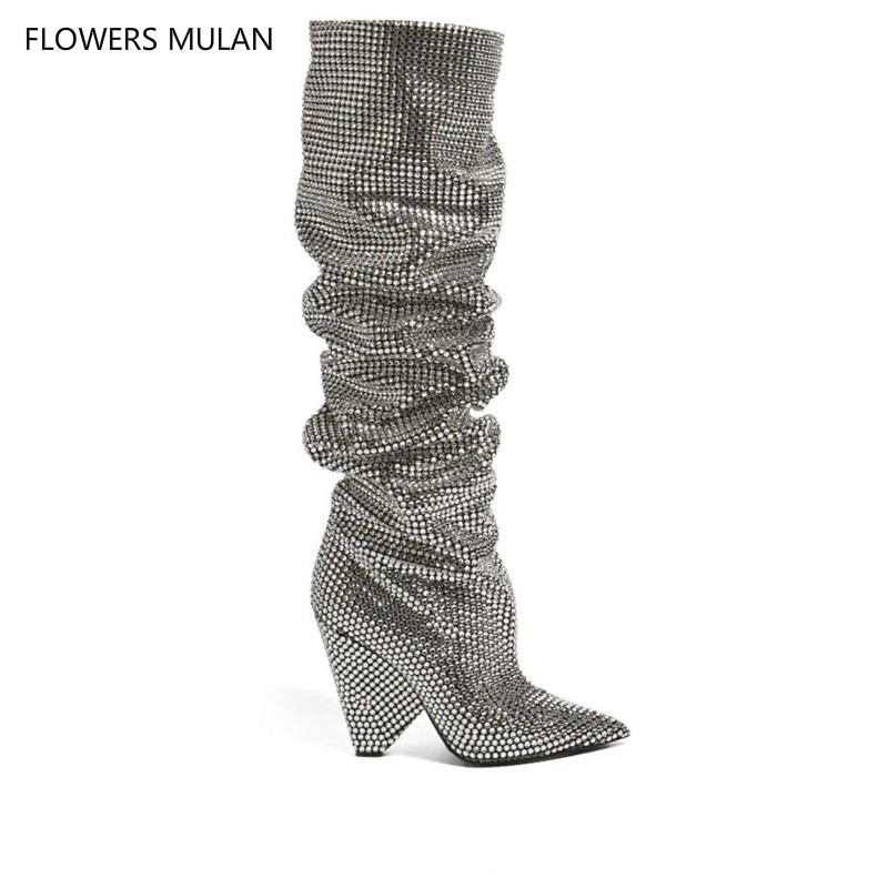 New Bling Crystal Embellished Women Knee High boots Spike Heels Pleated Glittering Stage Tall Boots Pointed Toe Sexy Runway Boot