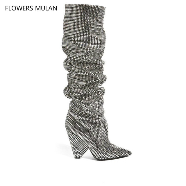 7c972a2c1d8 New Bling Crystal Embellished Women Knee High boots Spike Heels Pleated  Glittering Stage Tall Boots Pointed Toe Sexy Runway Boot