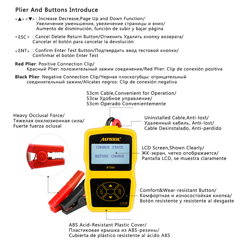 Autool BT360 Car Battery Tester 12V Digital Portable Analyzer Automotive CCA Voltmeter Auto Multi Language BAD Cell Test Vehicle in Battery Measurement Units from Automobiles Motorcycles
