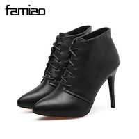 FAMIAO Women Pumps Rome Gladiator High Heel Zapatos Mujer Chaussure Femme Black Office Shoes Red Bottoms