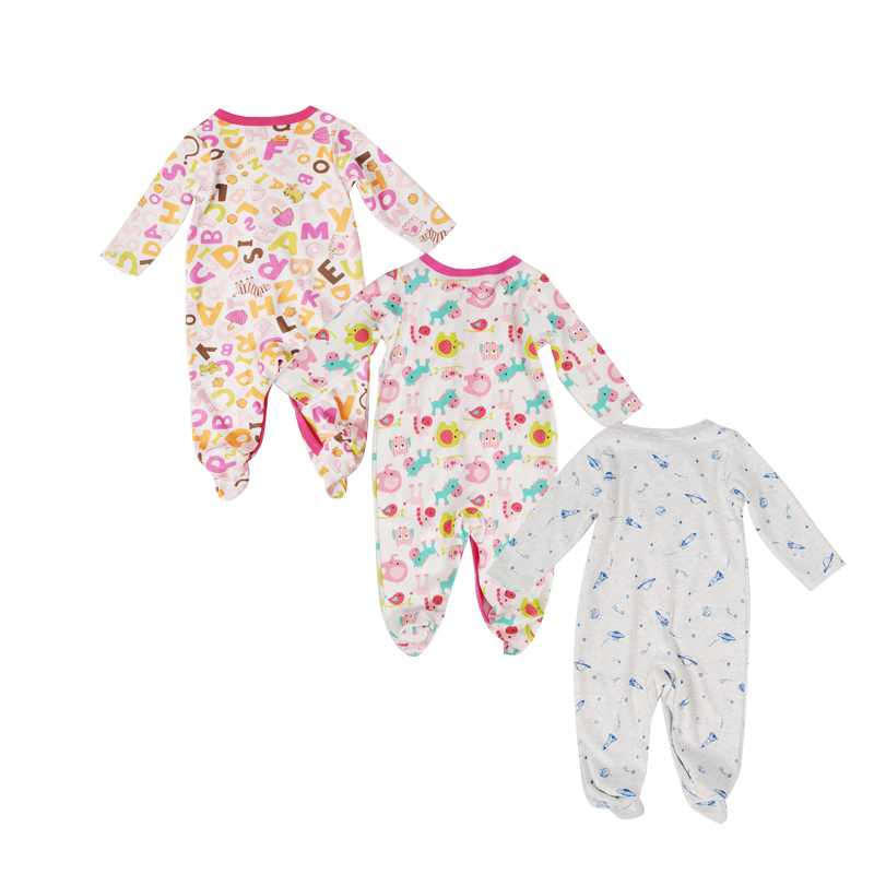 3pcs Baby Autumn Cotton Rompers Cute Cartoon Clothing Set Baby Boys Infant Girls Clothes Jumpsuits Foot Coveralls Romper Roupas sanlutoz baby rompers set newborn clothes baby clothing boys girls brand cotton jumpsuits long sleeve overalls coveralls winter
